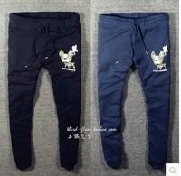 2015 men's  D2 brand Leopard dog fawn male dog wash Slim cotton sports pants DSQ casual pants knit terry cotton trousers feet