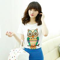 Free shipping 2015 summer Owl pattern O-Neck t-shirt women tops short tees blouse shirt M-L-XL-XXL