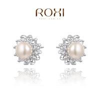 ROXI Wholesale fashion jewelry White Gold Plated Austrian Crystal Imitation Pearl Stud Earring 2014121236