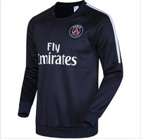 2014 New Paris Black Long Sleeve Training Suit Hoodies Football Tracksuit 14 15 Soccer Sweathershirts Active Clothes