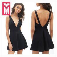 Drop ship!new 2015 brand sexy wave V-neck backless A-line dress sleeveless tank slim corset dress