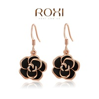 ROXI Wholesale fashion jewelry rose White Gold Plated Austrian Crystal Rose Drop Earring 2014121234