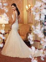 Fashion wedding dress formal dress luxury  lace wedding dress hot-selling bride deep V-neck short trailing wedding dress