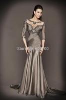 Custom made  New Mermaid Beading Half Sleeve See Through Grey sexy  hard work  Formal Gown Evening Dresses