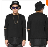 Hip hop 2014 man t shirts fashion o-neck hole on the long-sleeve mens hba extended T-shirt casual Arc cut top tee