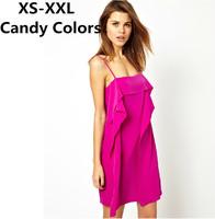 XS-XXL Summer Women's Chiffon Dress Sexy Candy Color Ruffle One-Piece Dress Racerback Deep V-Neck Zipper Suspender Beach Dress