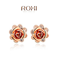 ROXI Wholesale fashion jewelry White Rose Gold Plated Austrian Crystal Flower Stud Earring 2014121245