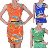 New 2015 Summer Spring Women's Sleeveless Knee-Length Sexy Print Dress Casual Ladies Draped Elegant Office Dresses