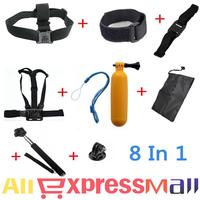 GoPro Accessories Set Go pro Remote Wrist Strap +Helmet Extention Kits Mount + Chest Belt Mount +Bobber +For Go-pro hero2/3/3+/4