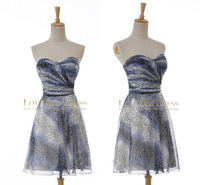 Actual Image 2015 Cross Pleated Sweetheart Print Water Pattern Chiffon A Line Short Celebrity Cocktail Party Dresses