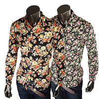 Men's long-sleeved shirt Slim JOGAL popular floral flower flowers hot fashion show in paragraph 315