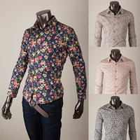 Male flower cultivating long-sleeved cotton shirt shirt Edison tide Korea genuine men nightclub 406 2013