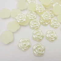 12mm 500pcs/lot resin ivory ABS imitation pearl beads rose flower designed flat back cabochon pearls for DIY nail art decoration