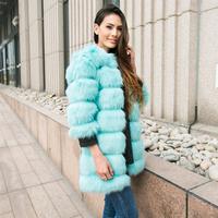 2015 New Women's Fashion Hairy Shaggy Faux Fox Fur O-Neck Long Coat Three Quarter Sleeve Outerwear Overcoat Jacket Blue