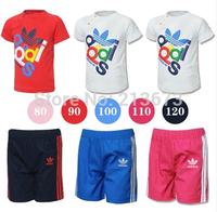 Free Shipping Boy's Summer Clothing Sets Children's Apparel Suit Kids Sets Short-Sleeve T-shirts + Plaid Pants Set