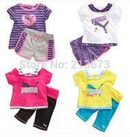 Free shipping fashion kids clothing sets boys girls baby suit set short shirt +short pants suit set summer style