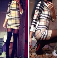 2015 HOT latest round neck hit color doll dress women Slim thin coarse horizontal stripes women dress