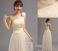 ZJ0128 champagne elegant one shoulder plus size new 2015 long maxi brides maid dresses women lady bridesmaids dress wedding