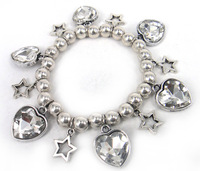 Free Shipping Fashion shiny white Clear crystal Heart And howllow five pointed star Charm Vintage Bracelet