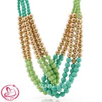2015 New Brand Women Layered Choker Necklace Fashion Magnetic Statement Handmade Chunky Acrylic Bead Necklace Free Shipping