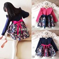 2015 New Girls Princess Dress Autumn Spring Girls Flowers Splicing Dress Girls Long Sleeve Dress Ages 3-11Y B21 SV013125