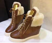 Hottest Leisure Style Height Increasing Sneakers For Women Black Brown Fur Inside Ankle Boots Winter Women Outwear Shoes