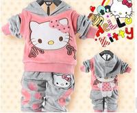 2014 HOT children Coat Clothing Set girls cartoon suit set Children's Clothing Infant Children Suit Baby Clothes