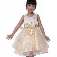 Brand Baby Girls Dress Spring Summer Girl's Fashion Apparel 2~7AGE Kids Dress Party Princess Girls' Dresses Bowknot SV03CB034078