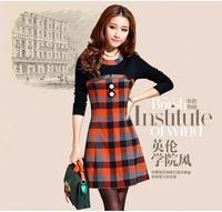New Sale Spring Autumn Preppy Style Plaid Women Dress Slim Contrast color O-Neck Dress Chest Button Plus Size Elegant Dress