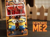 Free Shipping!Bebas biaya kartun guntangan kunci despiceble me 3D eye minion kecil gambar kid mainan  keychain