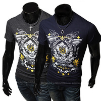 2014 new fashion printed short-sleeved t-shirt Slim sportsman 555