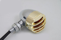 2x Chrome with gold covering  Amber lens Motorcycle LED Turn Signal Light indicator NEW Bullet Bulb For Harley Cruiser Chopper