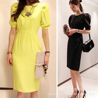 New 2015 Summer Spring Dress Women's Short-Sleeve Knee-Length Sexy Puff Sleeve Pencil Dress Casual Ladies Elegant Office Dresses