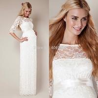 Elegant White Half Sleeve Lace Floor Length Pregnant Evening Dresses Long Prom Dress 2015 New Vestido Longo