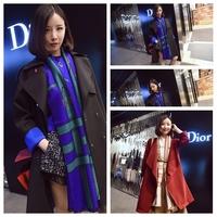 Fashion leather hasp thermal cashmere scarf all-match cape dual female fashion scarf Pashmina