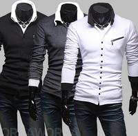 Free Shipping High Quality Special Design Hot Sale Zipper Button Turn-down Collar Long Sleeve Man Cotton T-shirt