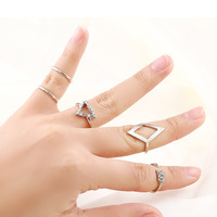5pcs/Set Promotions Fashion Personality Punk Hippy Popular Midi Rings sets Geometry Square rhinestone Ring jewelry 2014 PD22
