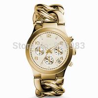 Brand Quartz Watch Luxurious Women Men wristwatch Runway Twist Gold-Tone Stainless Steel interlock chain bracelet Watch MS3131