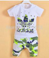 2014 girl Boys clothing sets new arrival Beach Set Summer baby children Camouflage Set anchor kids suit +short sets