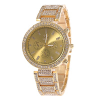 2015 New Fashion Women Girls Rose Gold/Gold Dial Quartz Stainless Steel Bracelet Watch Ladies Fashion Watch Free Shipping