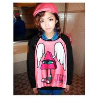 Cartoon Wings Villain Printed Raglan Sleeve Sweatshirt Casual Women Pullover Outwear TNH088