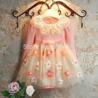 Free shipping 1 piece Girls fashion small princess more add wool dress long sleeve lace flowers