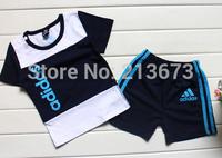 Retail children clothing set baby tracksuits sport set short sleeve T-shirt+ pants kids Girls baby Summer clothes Suit set