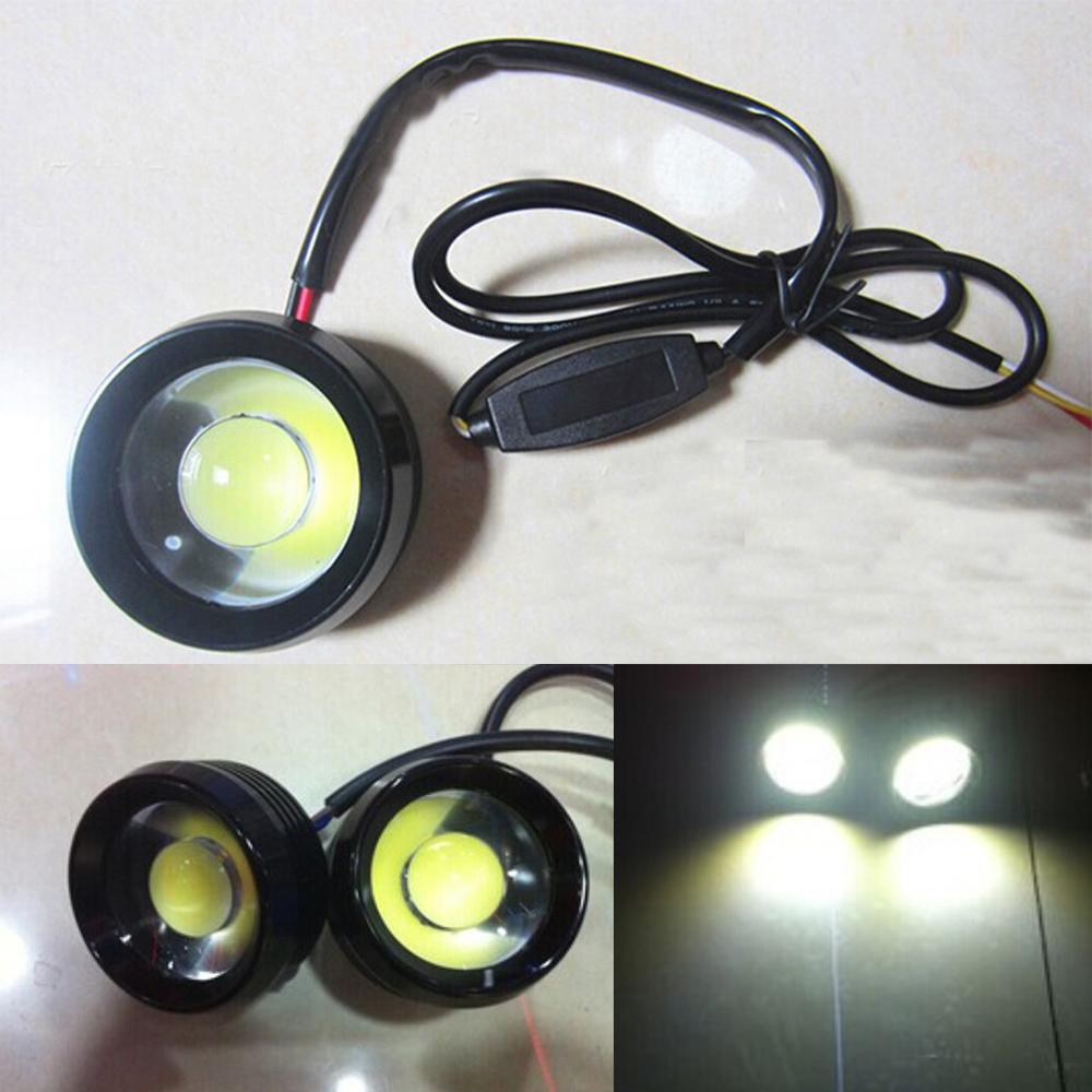 2X 18W Car COB LED Headlight DRL Round Fog Driving Daytime Running Light Lamp Strobe Flashing Long Bright Eagle Eye Lamp LED(China (Mainland))