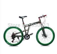 One wheel folding bike 21 speed dual disc brakes 26-inch mountain bike