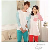 The new couple pajamas Men Women Fall quality cotton long-sleeved striped Pyjamas Pyjamas winter piece