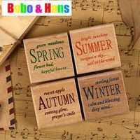 New cute season pattern wood stamp / 4 pcs / set with PVC box  / Decorative DIY work /Wholesale