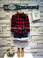 Wholesale 5piece/lot 2015 New Arrival Fashion Clothing Long Sleeve Fleece Plaid T Shirt+Denim Short 2pcs Children Girl Set