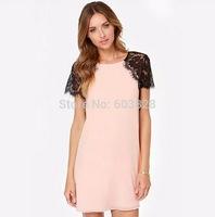 2014 Women Summer Slim Solid Lace Patchwork Pink Mini Dress Ladies Short Sleeve Cute Casual Dresses Plus Size YT1146