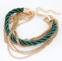 2015 New Best selling Women's fashion bracelet multilayer woven Twisted chain bracelet WG#